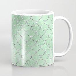 Glamour Green and Silver Mermaid Scallops Coffee Mug