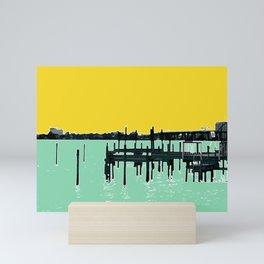 Jacksonville, Florida - modern bold photography print - Pier, dock, & skyline - St. John's river Mini Art Print
