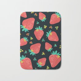 Strawberries | Black Bath Mat