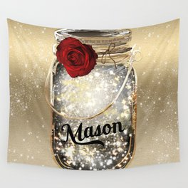 Gold Sparkle Mason Jar Wall Tapestry