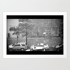 Rainy NYC Sidewalk Art Print