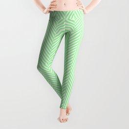 Classic Mint Green & White Herringbone Pattern Leggings