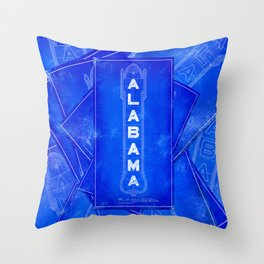 Birmingham - Alabama Theatre Marquee Blueprints Throw Pillow