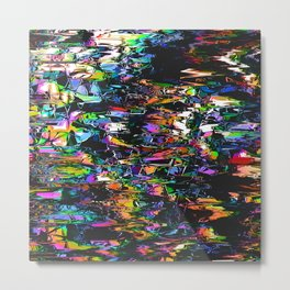 Spectral Triangles Glitch Metal Print