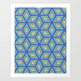 Blue and Gold Tilted Cubes Pattern Art Print
