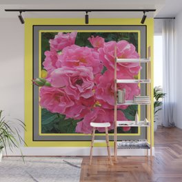 CLUSTERED PINK ROSES YELLOW-GREY ART Wall Mural