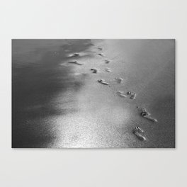 Steps on the wet sands, beach, nautical, holiday Canvas Print