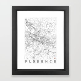 Florence Map Line Framed Art Print