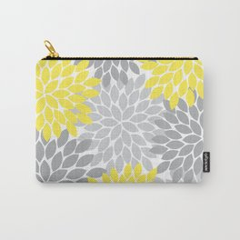 Yellow Gray Flower Burst Petals Floral Pattern Carry-All Pouch
