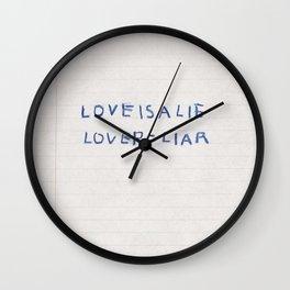 Love Is a Lie Basquiat Diary Wall Clock
