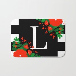 L - Monogram Black and White with Red Flowers Bath Mat