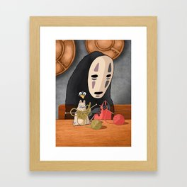 Spirited Away - Boh and No Face Knitting Framed Art Print