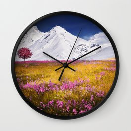 When Flowers Bloom And The Mountains Froze Wall Clock