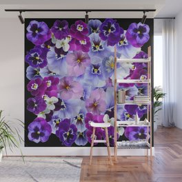 PURPLE-WHITE-PINK PANSY FLOWERS & BLACK Art Wall Mural