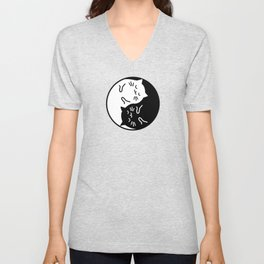Cute cats Yin Yang sign Unisex V-Neck