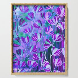 EFFLORESCENCE Lavender Purple Blue Colorful Floral Watercolor Painting Summer Garden Flowers Pattern Serving Tray