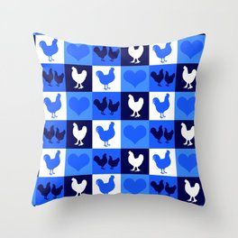Blue and White American Chickens Gingham Throw Pillow