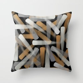 Digital Paint Brush Strokes in Gold, Silver and White Throw Pillow