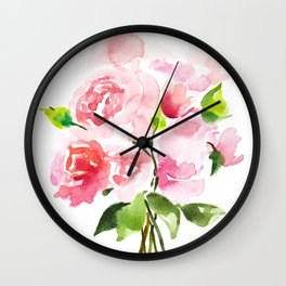 Peonies Floral Watercolor Painting by Tzechee Wall Clock