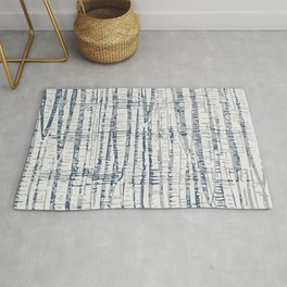 Abstract Woodland Landscape in Blue and Gray Rug