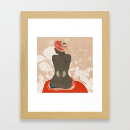 woman with leaves Framed Art Print