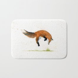 Jumping Jack Fox - animal watercolor painting Bath Mat