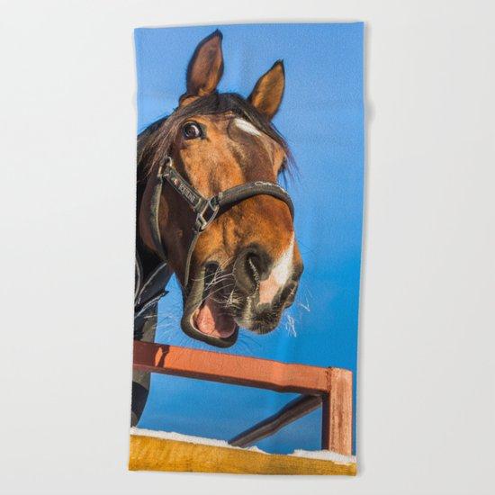 Laughing horse Beach Towel