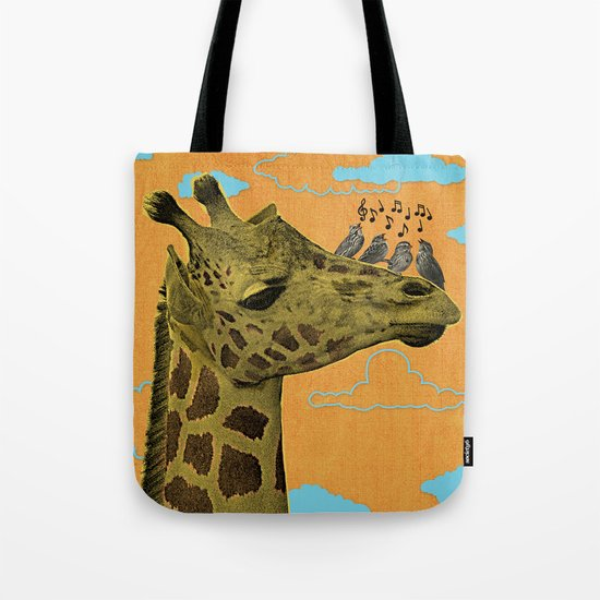 Giraffe & Singing Birds Print Tote Bag