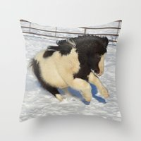 sassy Throw Pillows featuring Sassy pony by North 10 Creations
