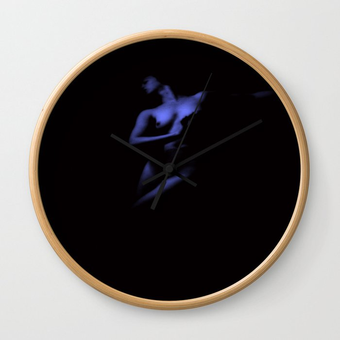 Deep Blue Nude Wall Clock