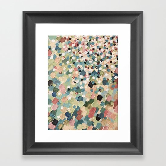 SWEPT AWAY 4 - Lovely Shabby Chic Soft Pink Ocean Waves Mermaid Splash Abstract Acrylic Painting Framed Art Print