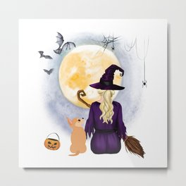 chihuahua  Dog  & Witch hanging witch broom Best Friends Halloween Dog Lover Costume Metal Print