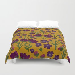 Purple and Gold Floral Seamless Illustration Duvet Cover