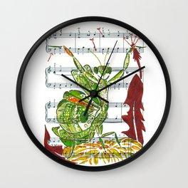 Making Wishes  (praying mantis and dandelion on sheet music) Wall Clock