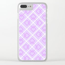 Electric Violet Interlock Pattern Clear iPhone Case