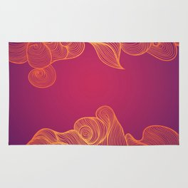 Heat Wave colorful illustrated abstract waves Rug