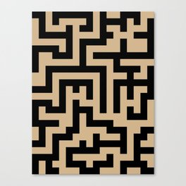 Black and Tan Brown Labyrinth Canvas Print