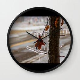 Frozen Red Leaf Wall Clock