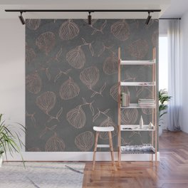 Modern floral hand drawn rose gold on grey cement graphite concrete Wall Mural