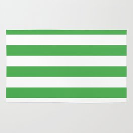 Even Horizontal Stripes, Green and White, L Rug