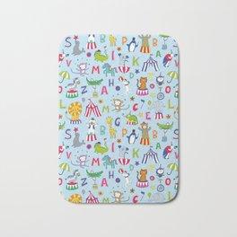 Circus Animal Alphabet - multi on pale blue Bath Mat