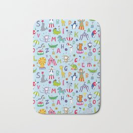 Circus Animal Alphabet - multi on pale blue Bath Mat