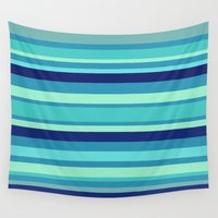 preppy Wall Tapestries featuring Preppy Stripes - Aqua Blues by Sweet Karalina
