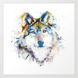 Wolf Face Watercolor Portrait Art Print