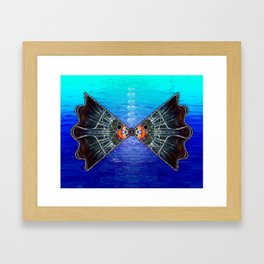 Fishies in Love, Kissing Fishes, Scanography Art Framed Art Print