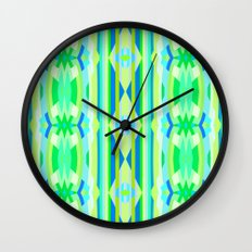 Blue yellow and green abstract Wall Clock