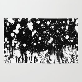 Black and White Splatter Paint  Rug