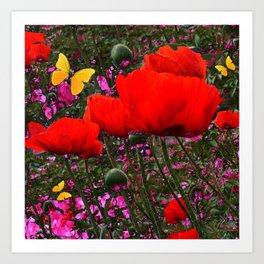 ORANGE ORIENTAL POPPIES & YELLOW BUTTERFLIES Art Print
