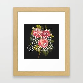 LOVE AND JUSTICE Framed Art Print