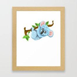 Blue Koala Cartoon Framed Art Print